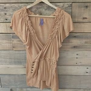 Anthropologie  Gorgeous frilled Top Apricot